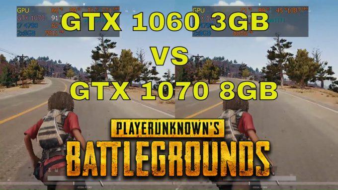 PUBG GTX 1060 3GB vs GTX 1070 8GB ultra settings fullHD