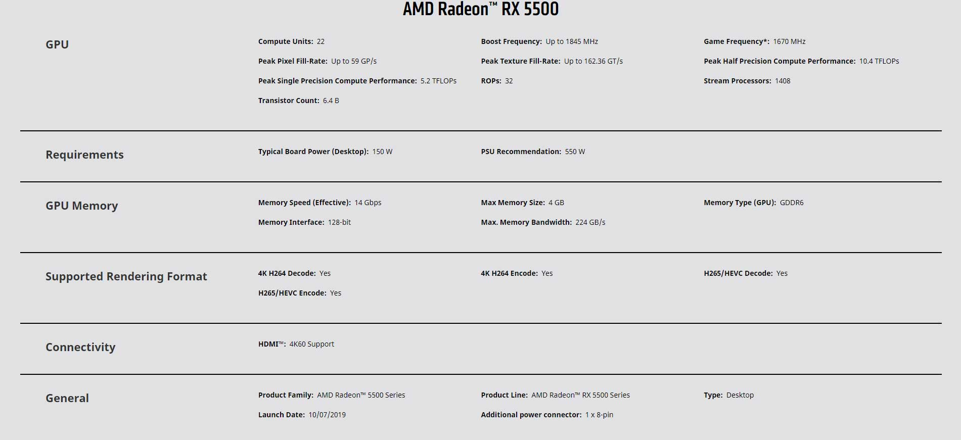 rx 5500 spec 1 - RX 5500 announcement and release date