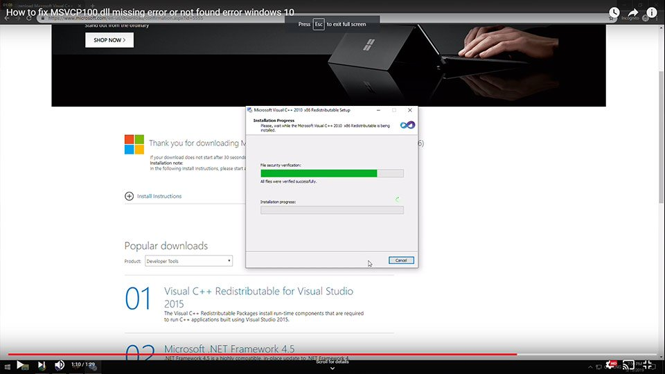 How to fix MSVCP100.dll missing error or not found error windows 10