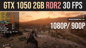 GTX 1050 2GB RDR2 30 FPS medium at 1080p