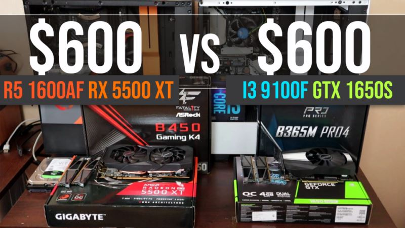 $600 R5 1600af + RX 5500 XT vs $600 i3 9100f + GTX 1650 Super