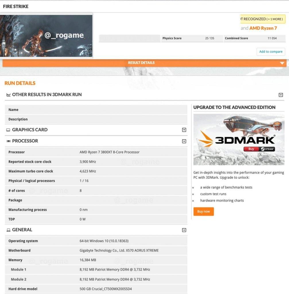 Ryzen 7 3800XT 3DMark FireStrike Physics 3.webp  1007x1024 - The AMD Ryzen 7 3800XT and Ryzen 9 3900XT spotted in 3DMark and Cinebench